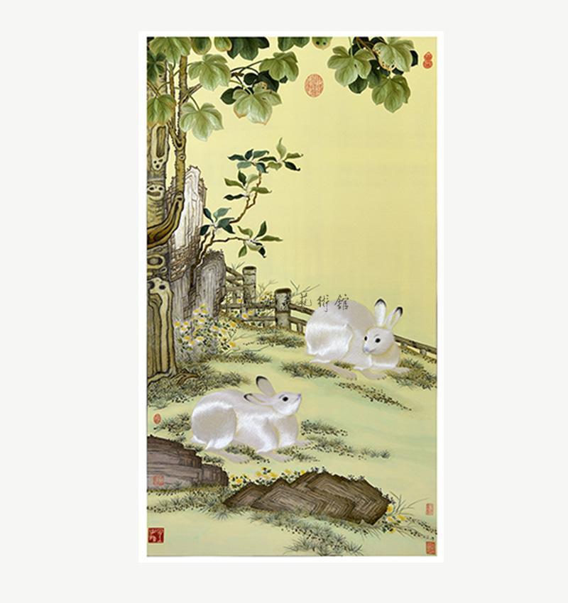 梧桐雙兔圖