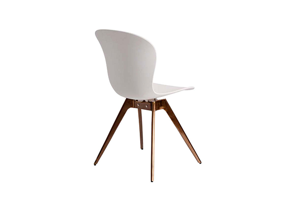 Tapered brass metal leg PP seat tulip dining chair S-226 G