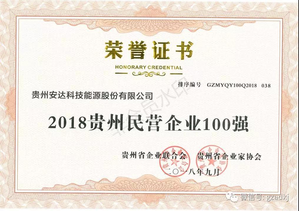 2018年贵州100强企业