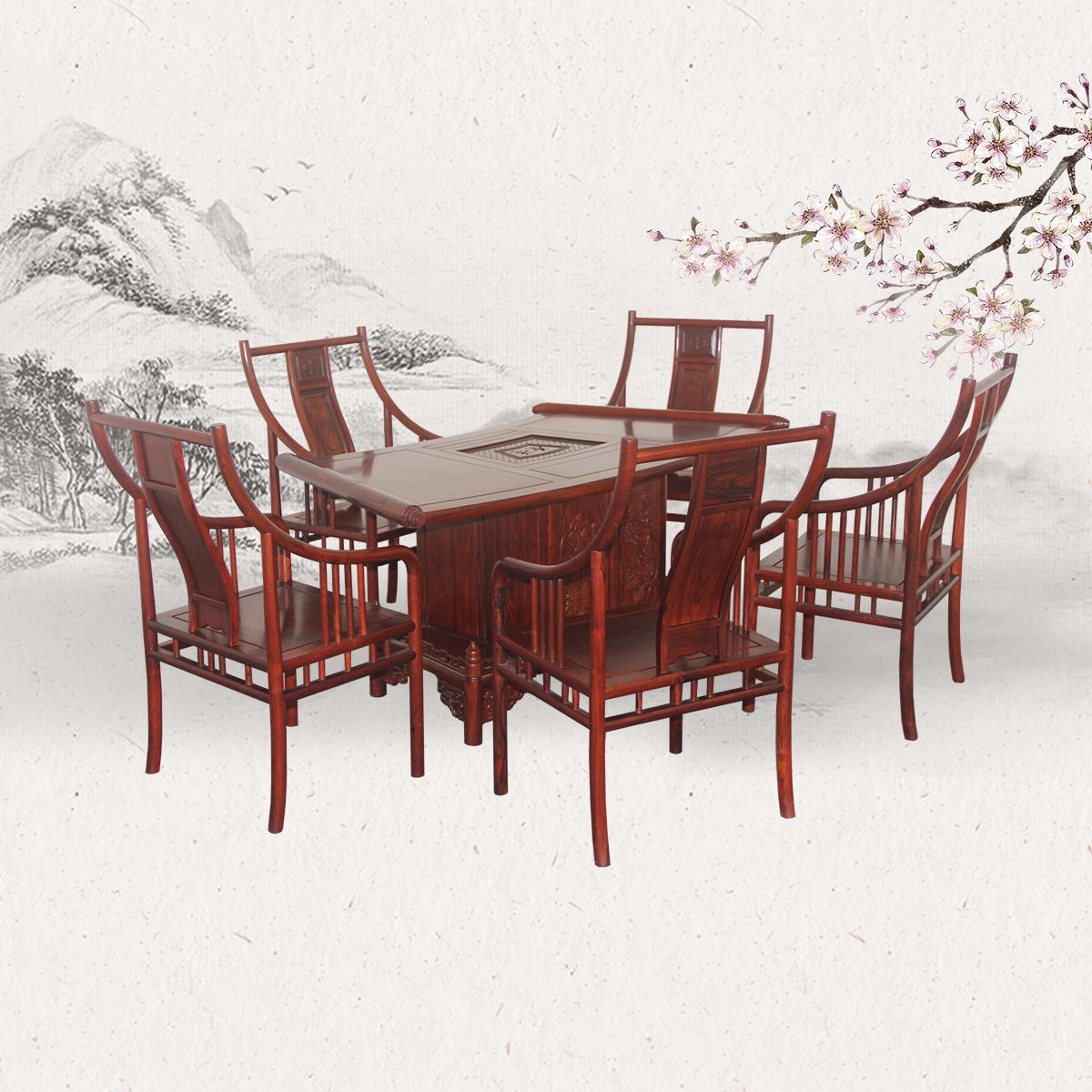 扇形茶台配茶椅