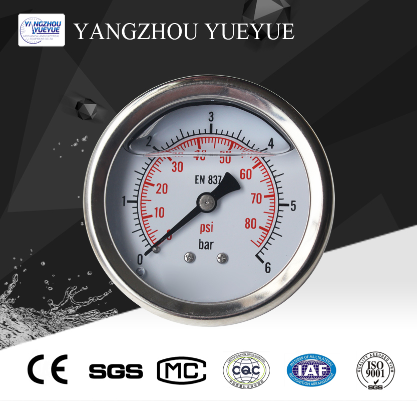 63mm all stainless steel pressure gauge(intergrated center back mounting)