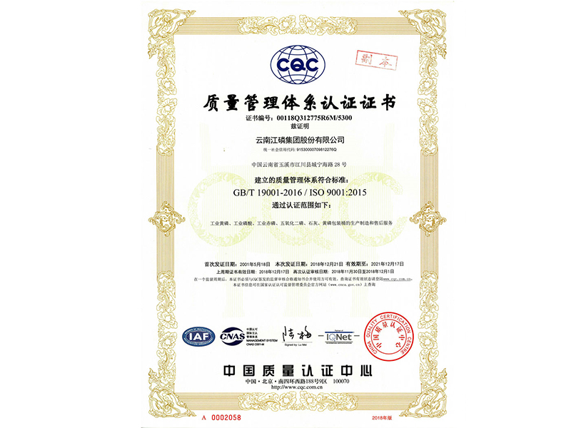 ISO9001-2015 quality management system certification