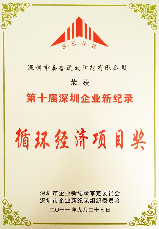 9.4 2011.9深圳市企业新纪录审委会-第十届深圳企业新纪录循环经济项目奖