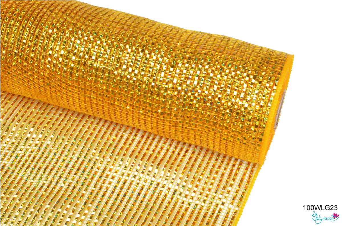 100 Regular Metallic Mesh 100WLG23 Wide Laser Gold Metallic In Dk.Gold  PP