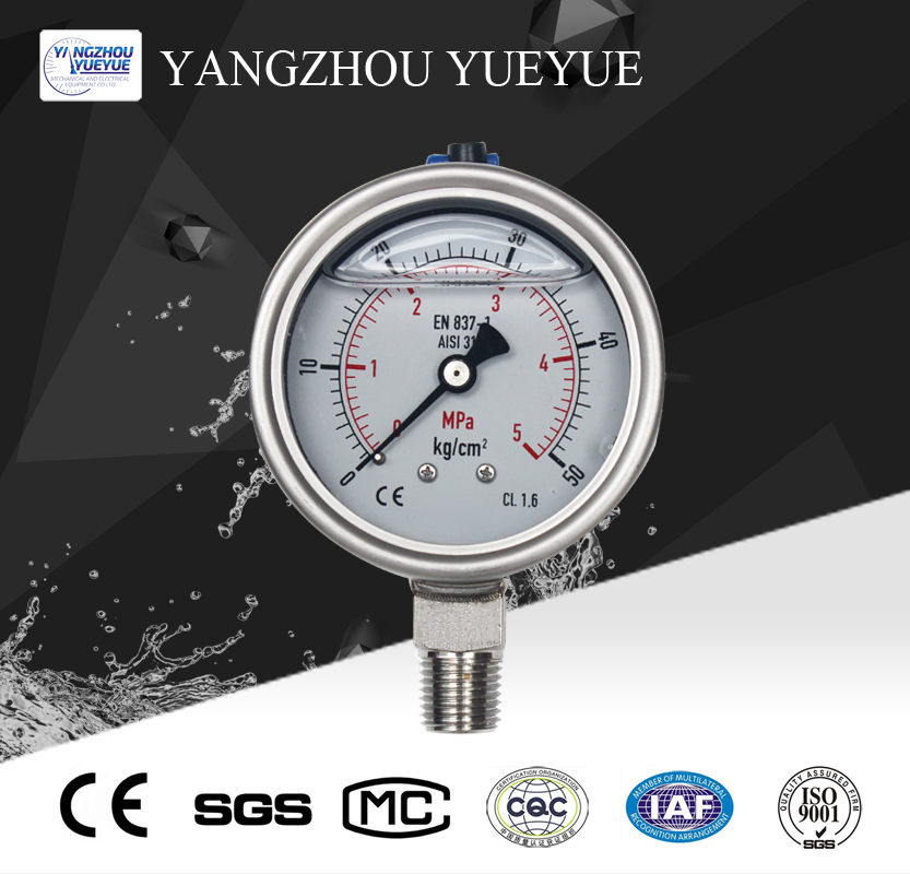 63mm liquid filled pressure gauge(lower mounting with laser welding)