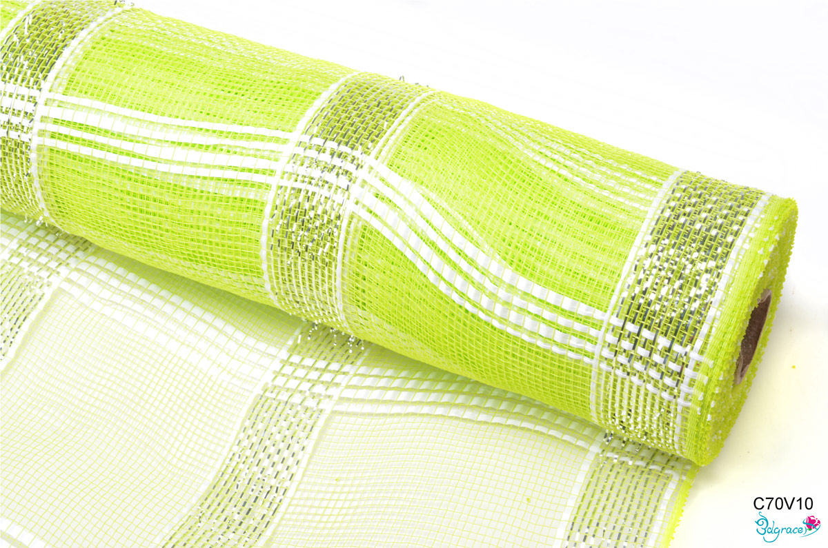 C70 Check Metallic Mesh C70V10 Metallic In Apple Green PP