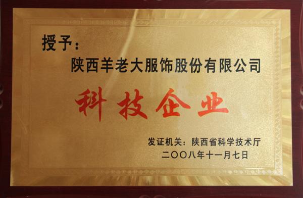 陜西省羊老大服飾股份有限公司科技企業