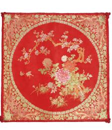 20-02雙面五彩織織錦牡丹46×46CM(紅)