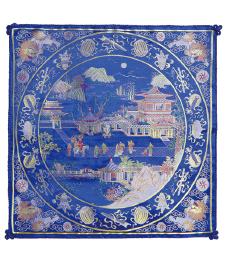 20-09雙面五彩織織錦景物46×46CM(藍)