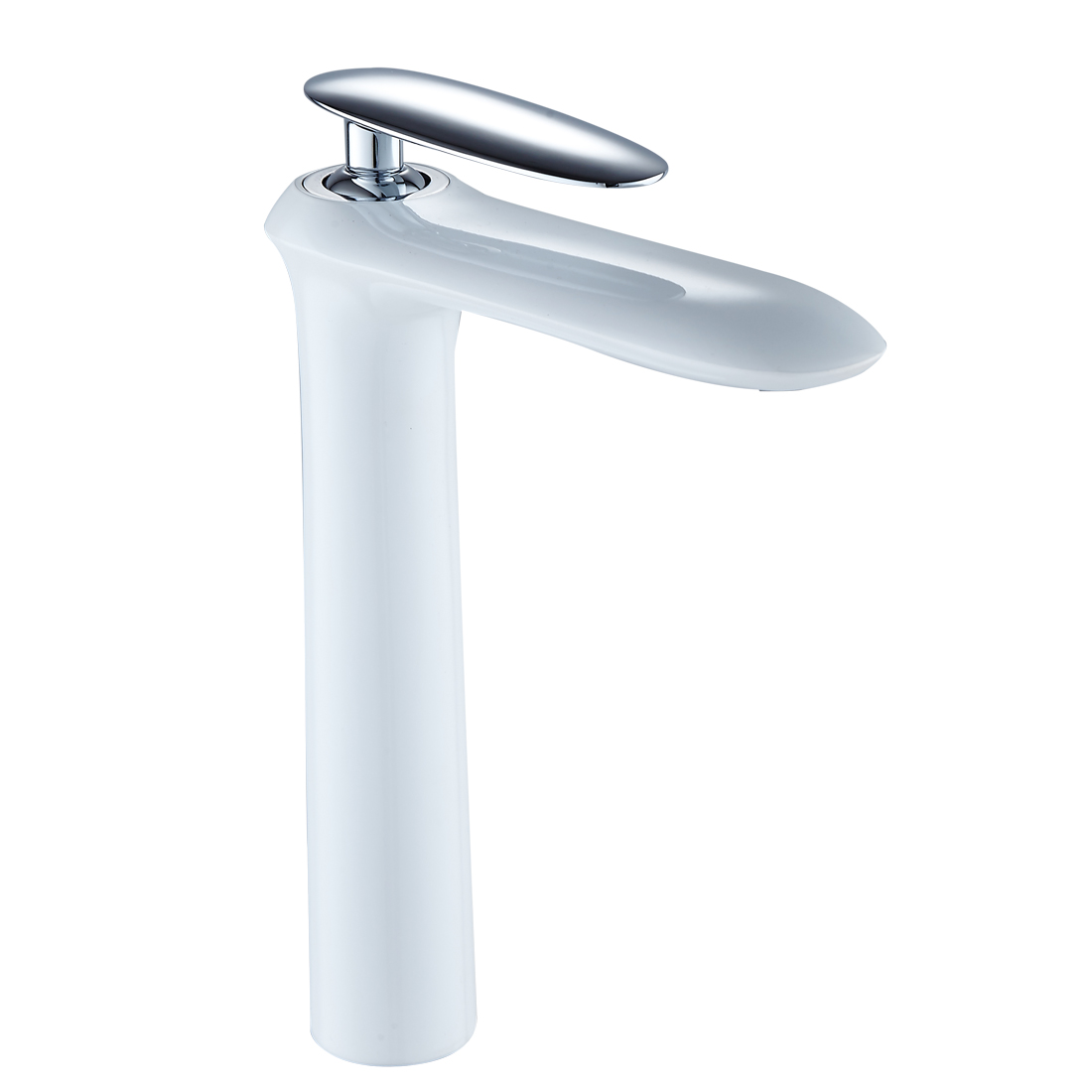 FLG White And Chrome Tall Bathroom Bathroom Faucet