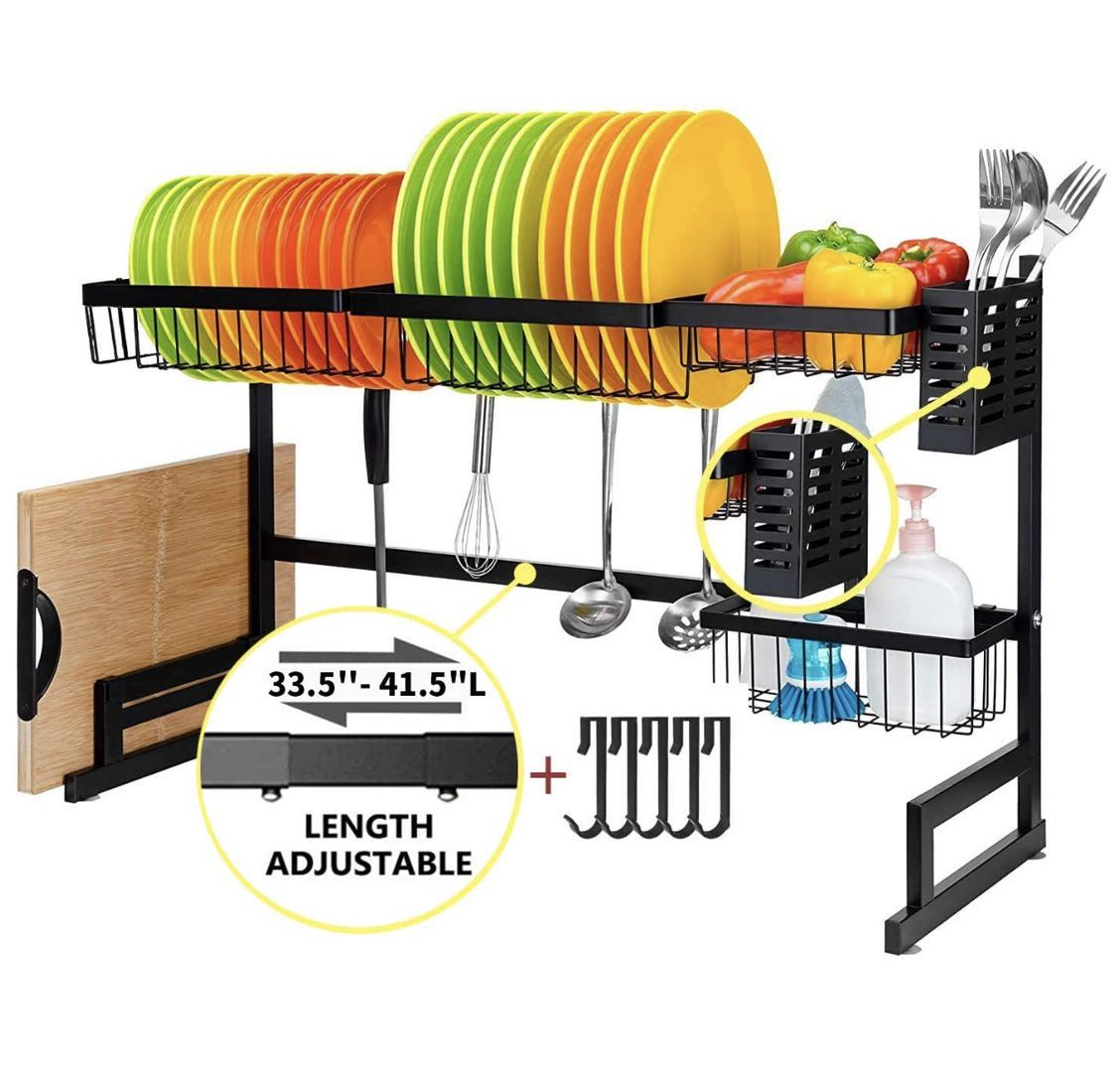 Over Sink Adjustable Drying dish Rack Organizer