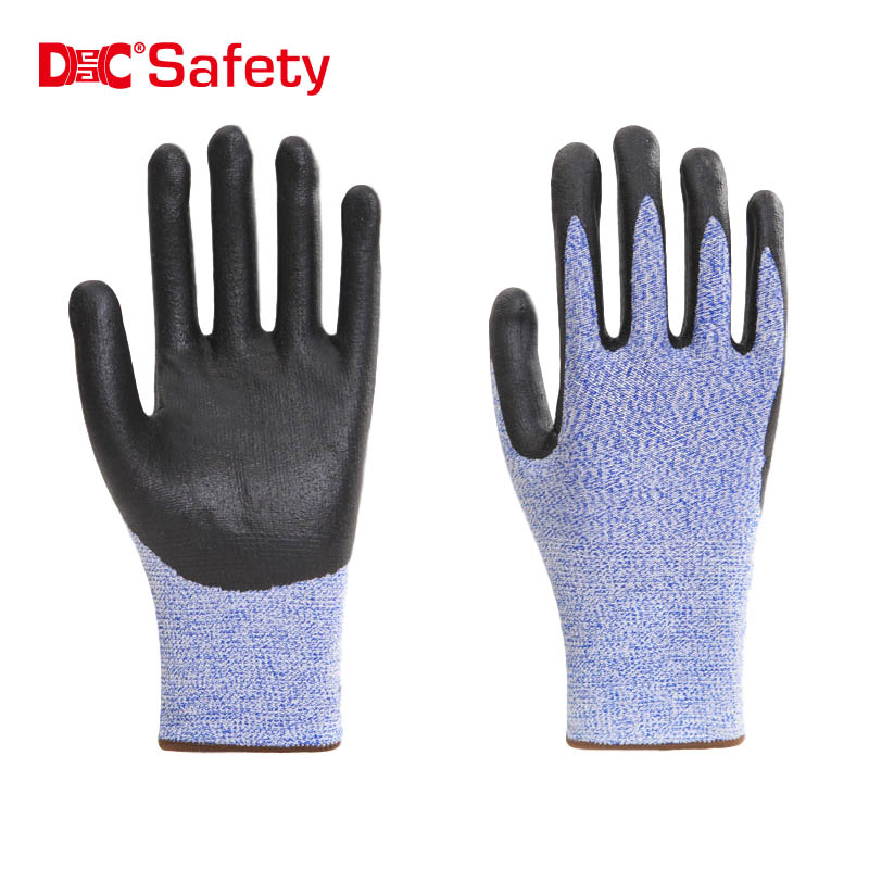 13 gauge anti-cut liner foam nitrile palm coating working safety gloves
