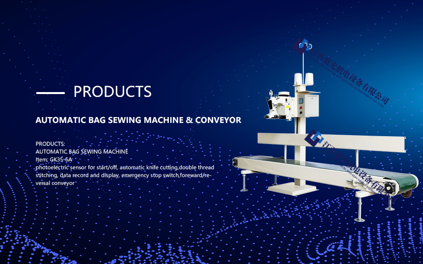 High speed bags close and sewing machine with conveyor