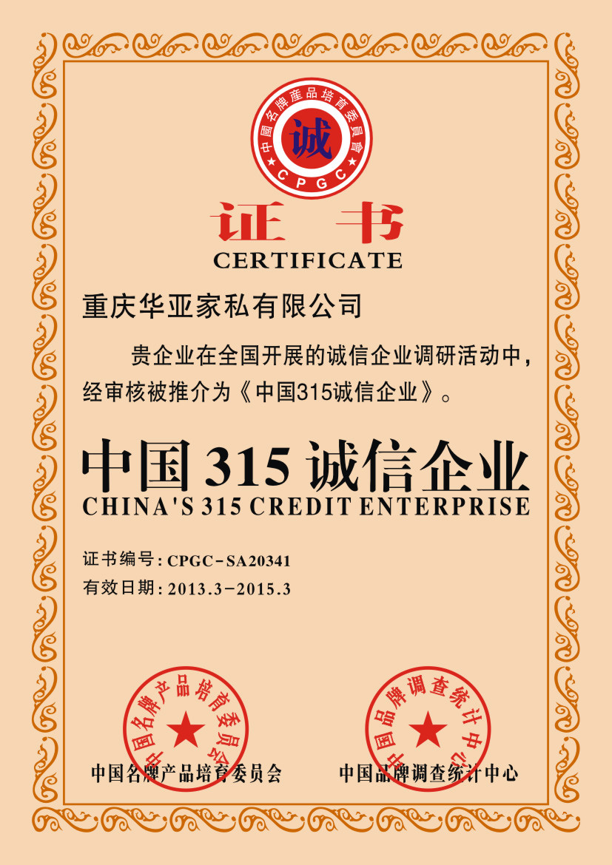 中國315誠信企業