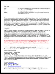 Transceiver: FDA letter