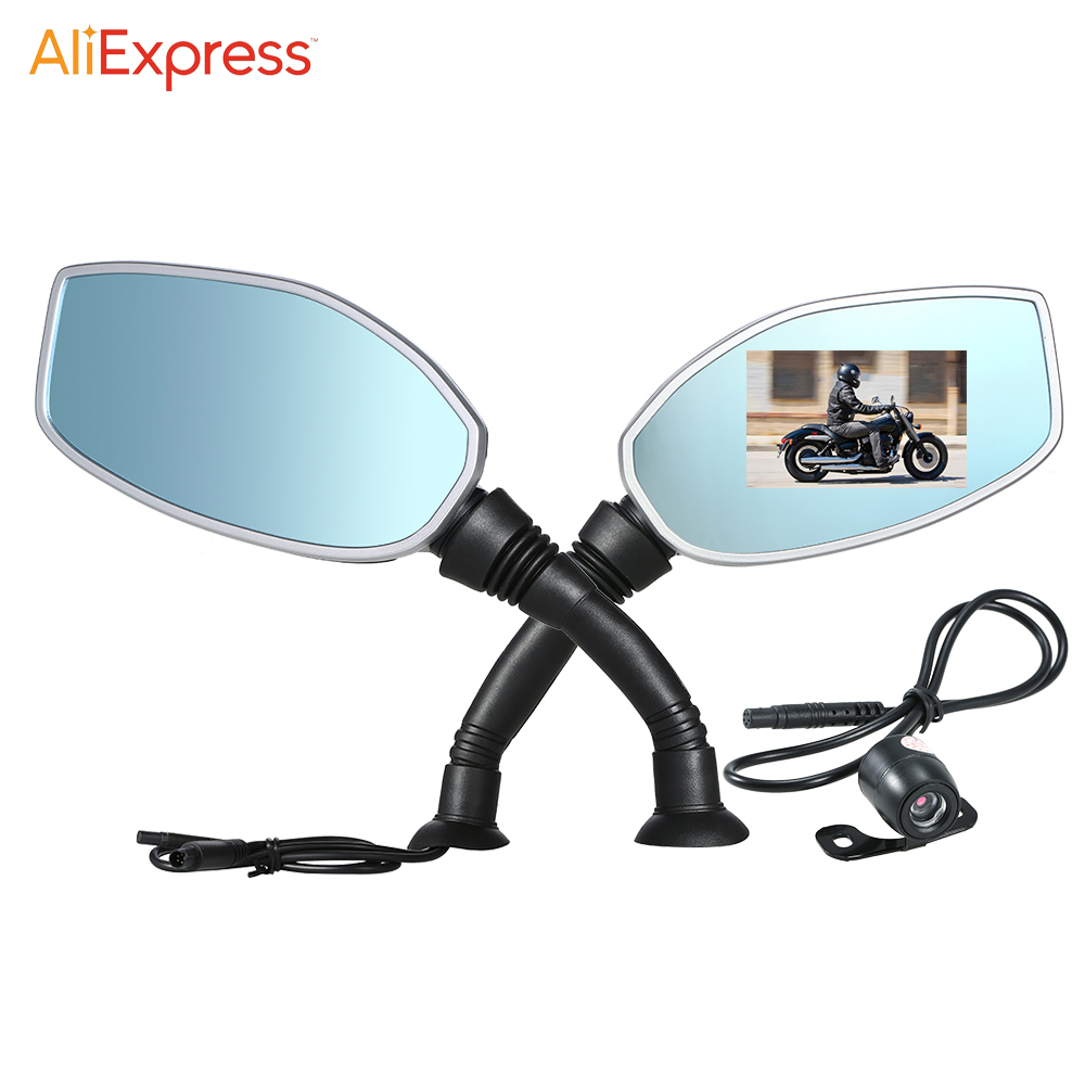 Motorcycle side mirror dual camera