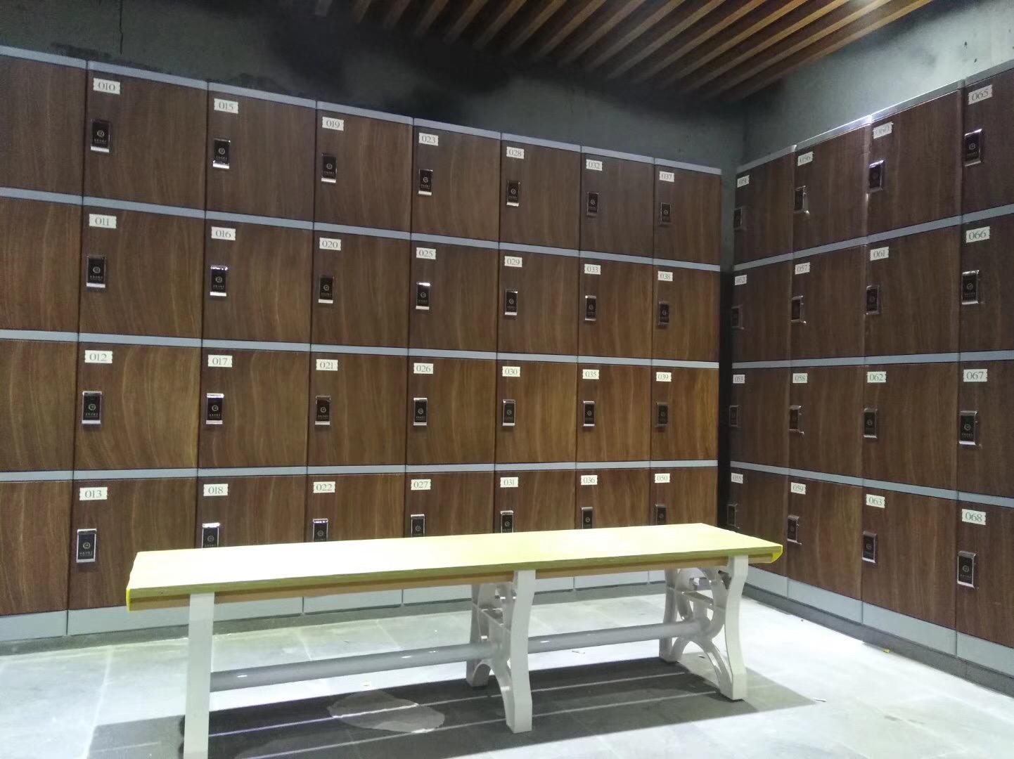 廣州健身俱樂部木紋色塑料柜