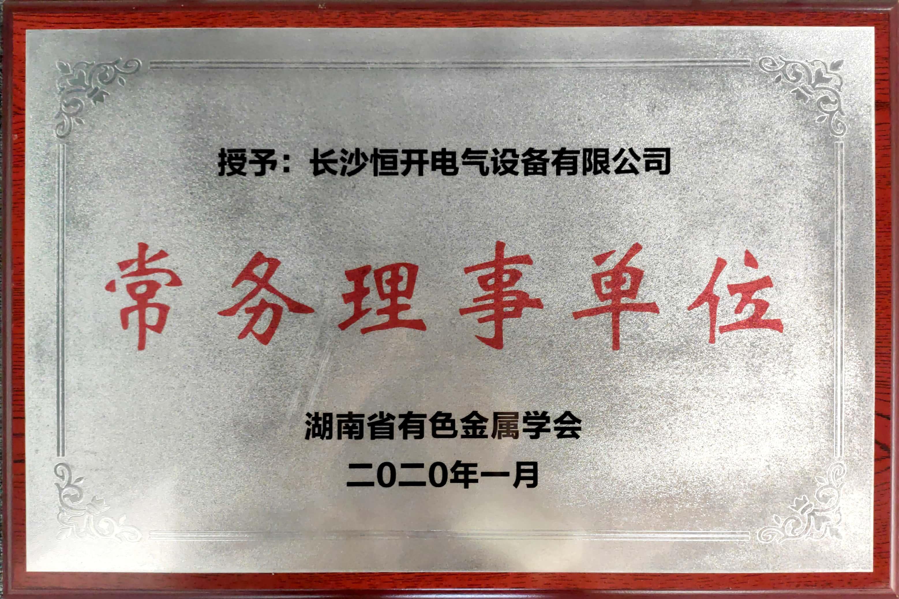 湖南省有色金属学会:常务理事单位