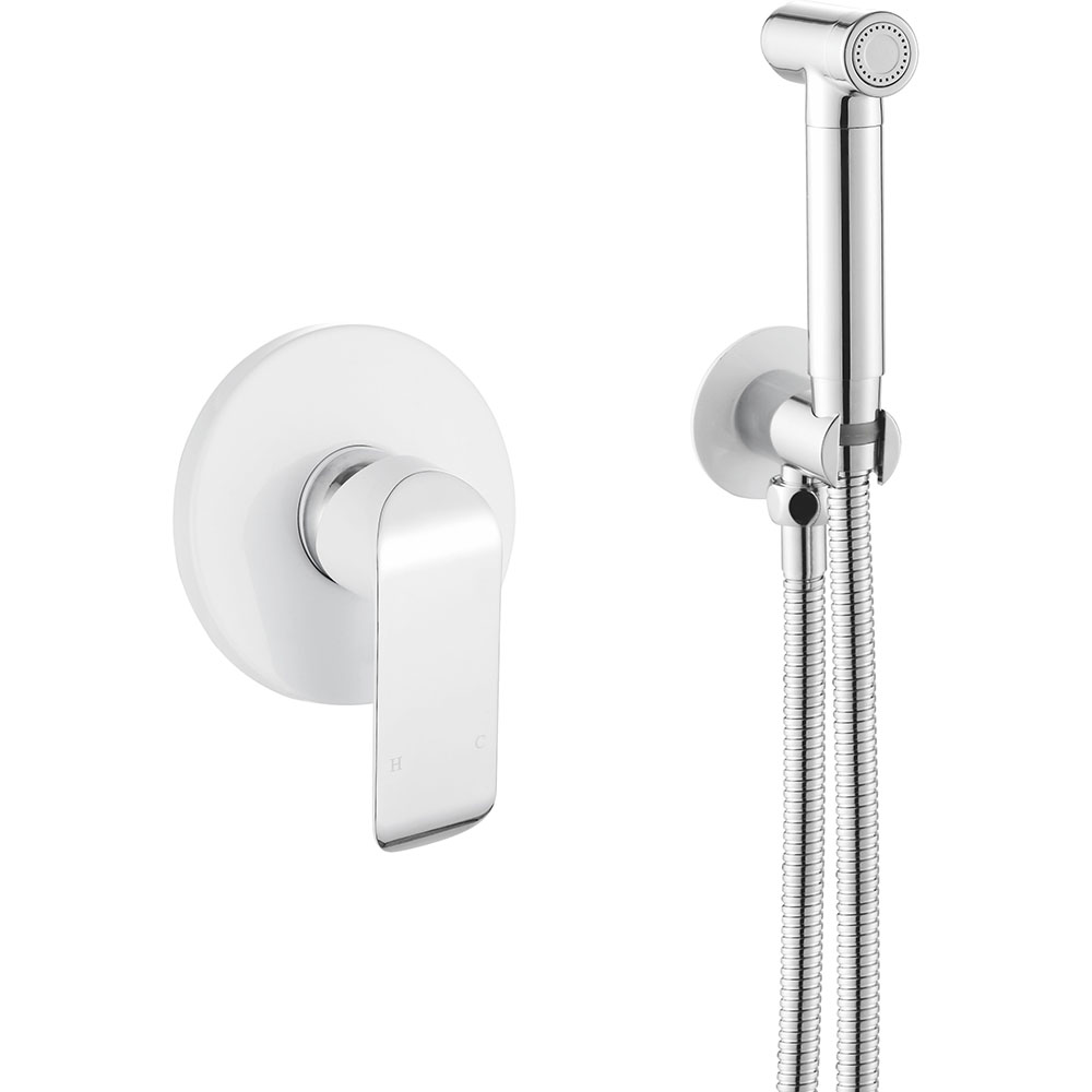 Chrome+White Wall Mounted Tub Faucet with Hand Shower Bathroom Wall Mount