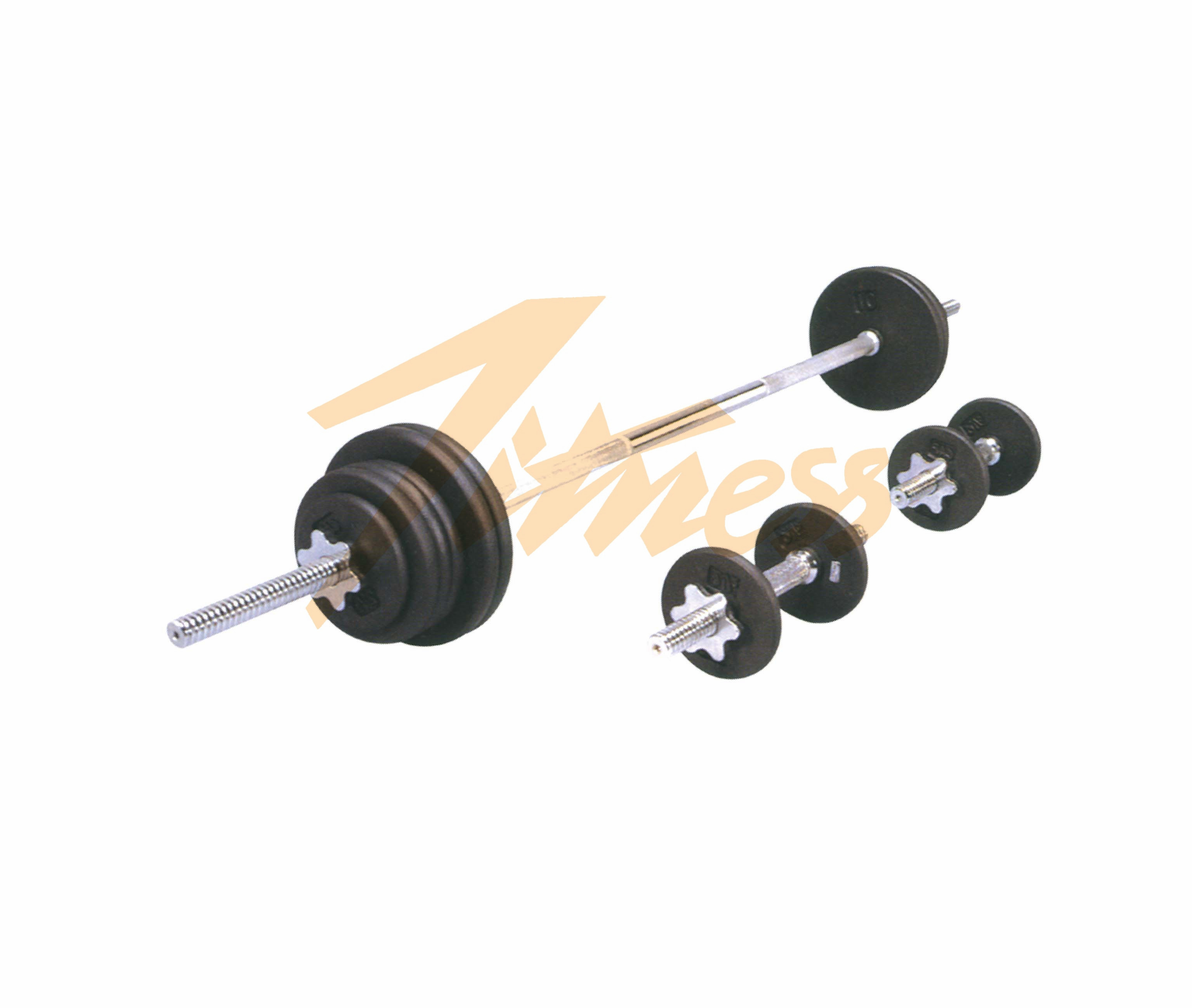 110LB BLACK PAINTED BARBELL SET