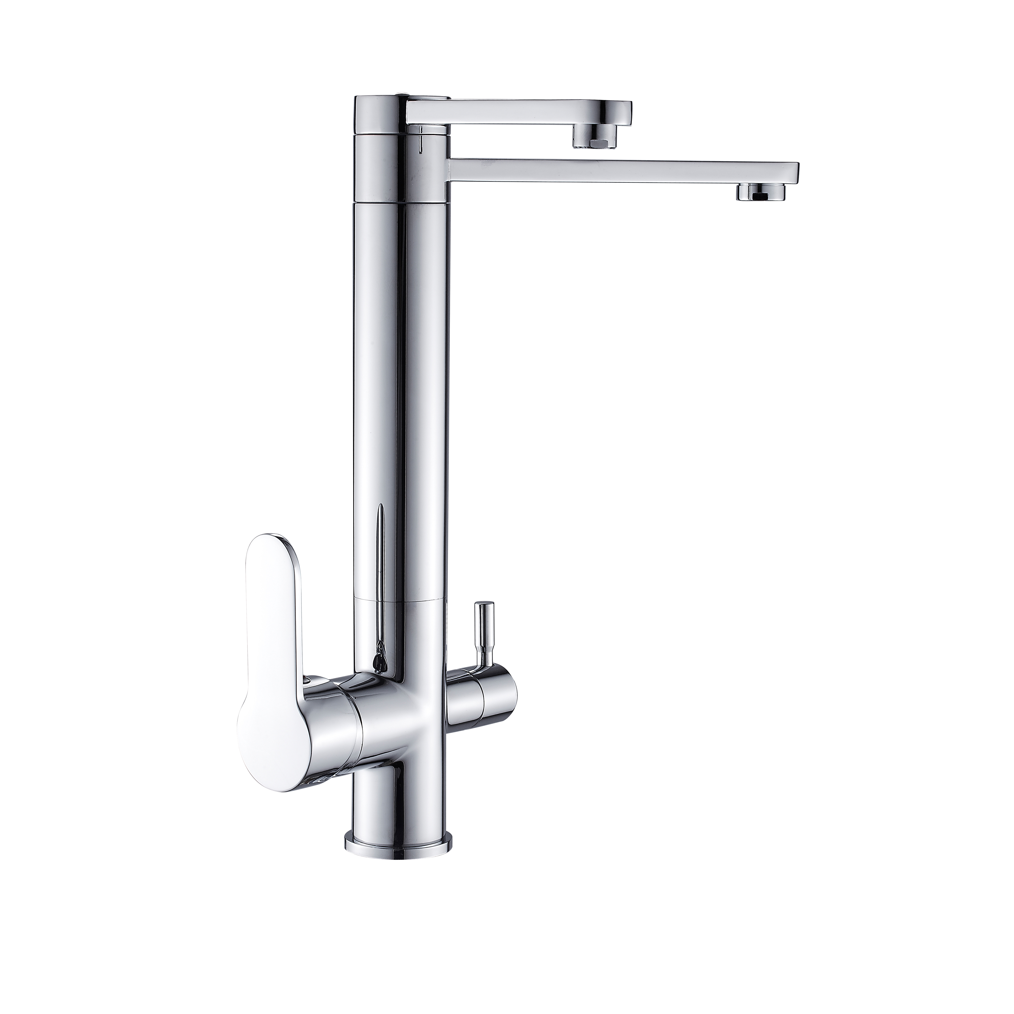 FLG chrome brass double outlets kitchen faucets