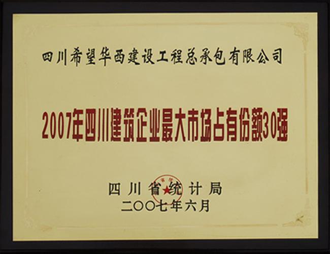 2007年四川建筑企业最大市场占有份额30强——四川爱游戏华西工程总承包有限公司
