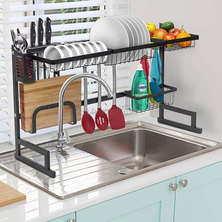 Stainless steel dish drying rack over sink