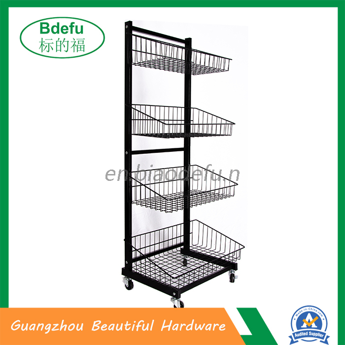 Black 4 baskets display stand