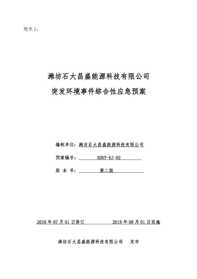 濰坊石大昌盛能源科技有限公司 重點排污單位信息公開
