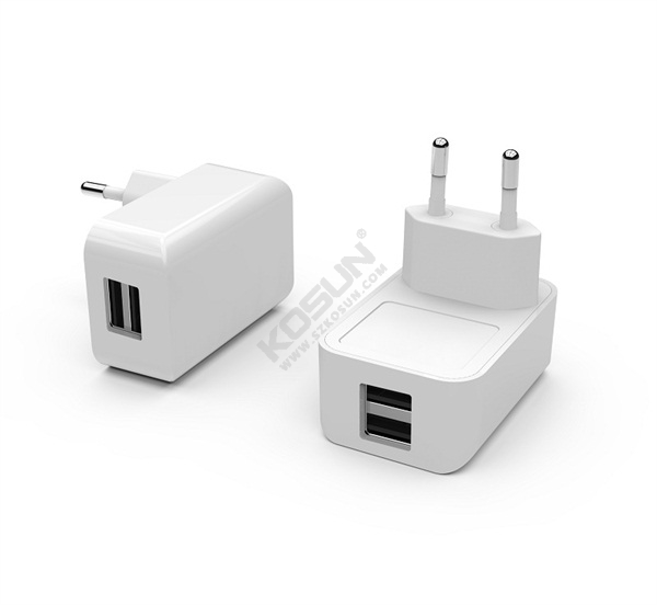 12W/17W Dual USB Ports European Wall Charger
