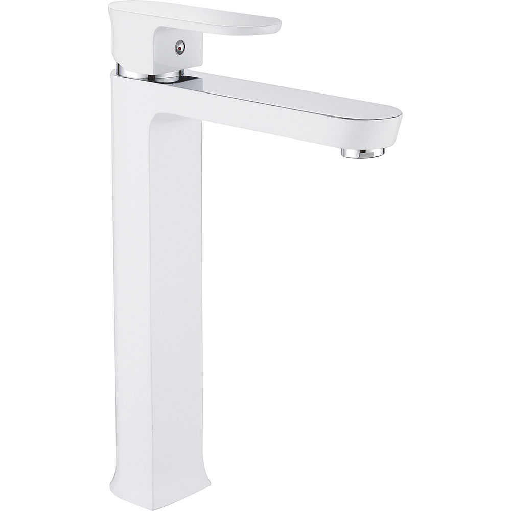 FLG White Tall Bathroom Faucet
