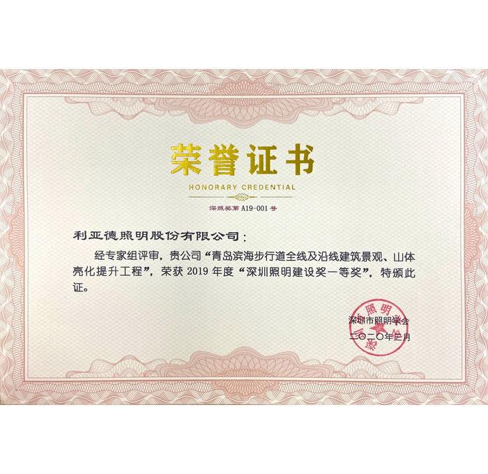 2019年度深圳照明建设奖一等奖