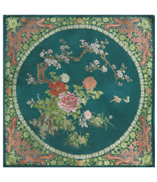 20-04雙面五彩織織錦牡丹46×46CM(綠)