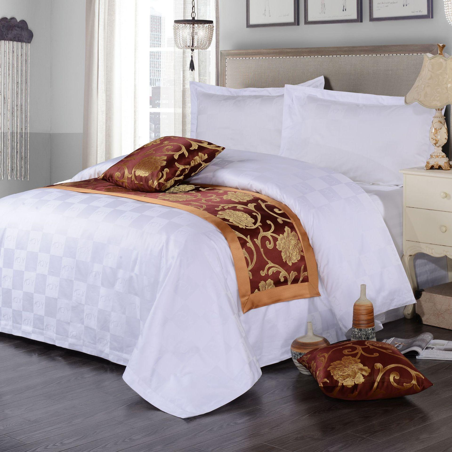 君芝友酒店用品賓館酒店床上用品四件套全棉純白色貢緞4件套床單被套床品JZY-0005