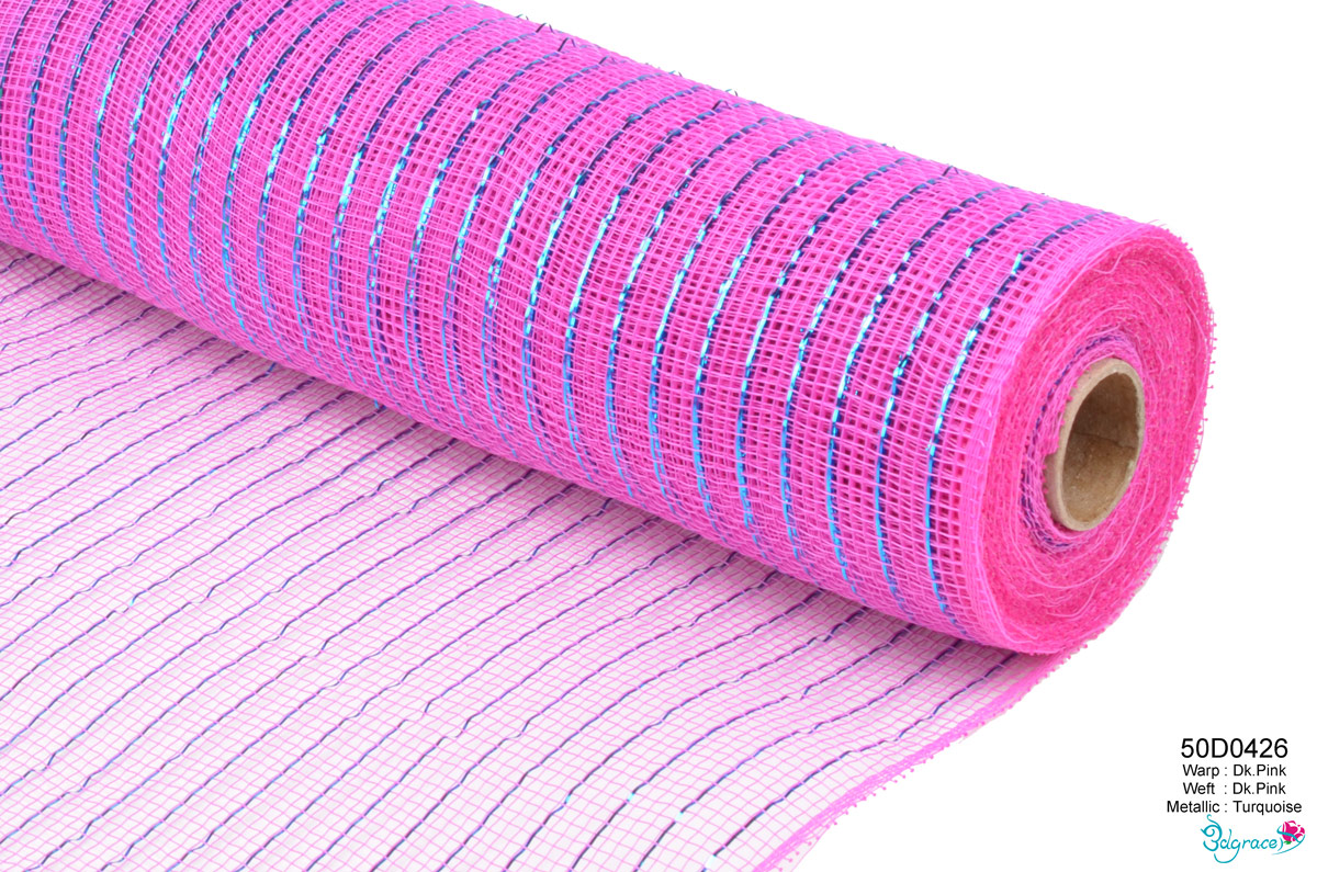 50 Regular Metallic Mesh 50D0426 Turquoise Metallic In Dk.Pink PP