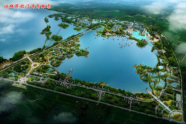 運城市北門灘濕地公園鳥瞰圖