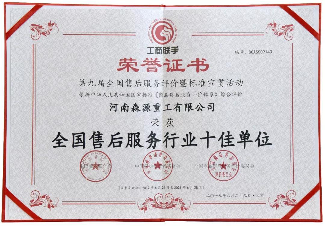 2019全国售后服务行业十佳单位证书