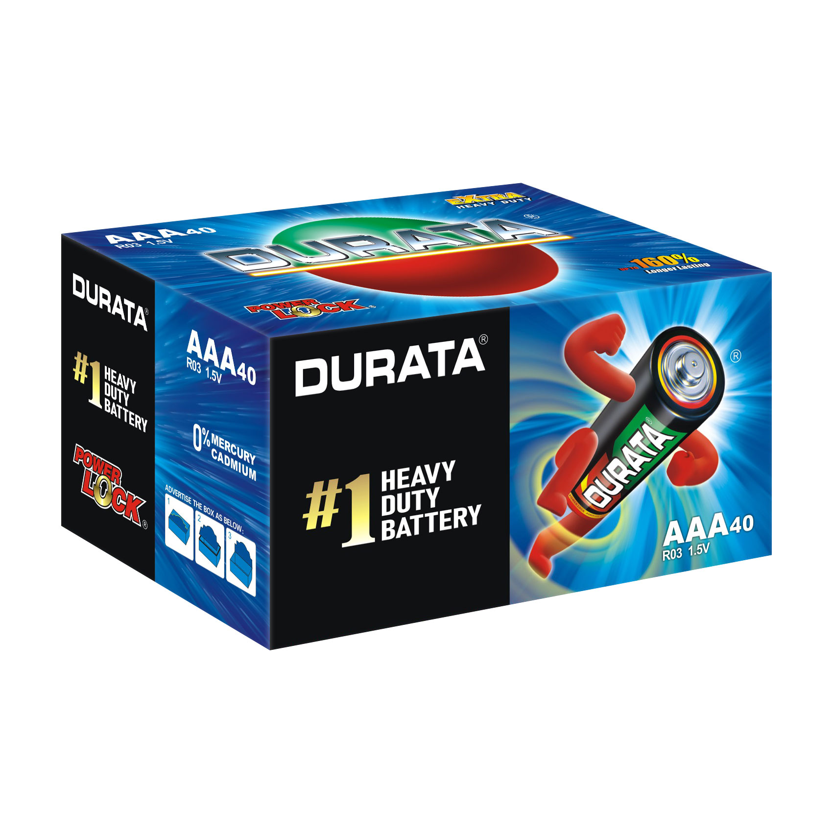 DURATA Size AAA - Shrink Pack 4 Batteries - box