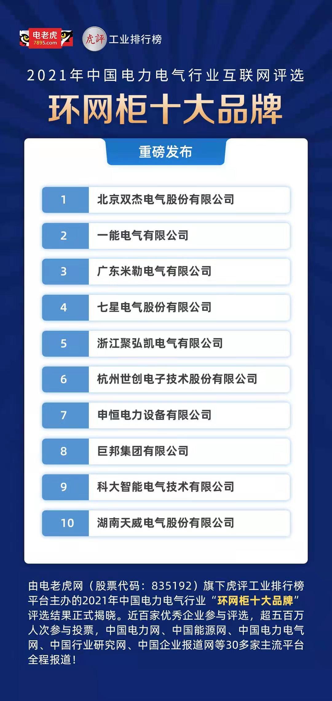 2021年中国电力电气行业互联网评选