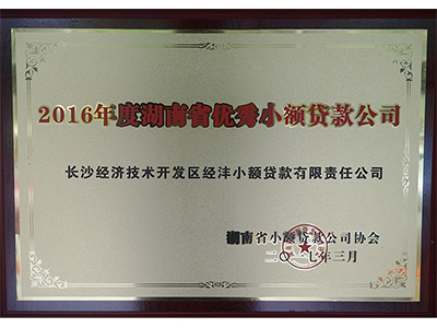 經灃小貸公司——2016年湖南省優秀小貸公司