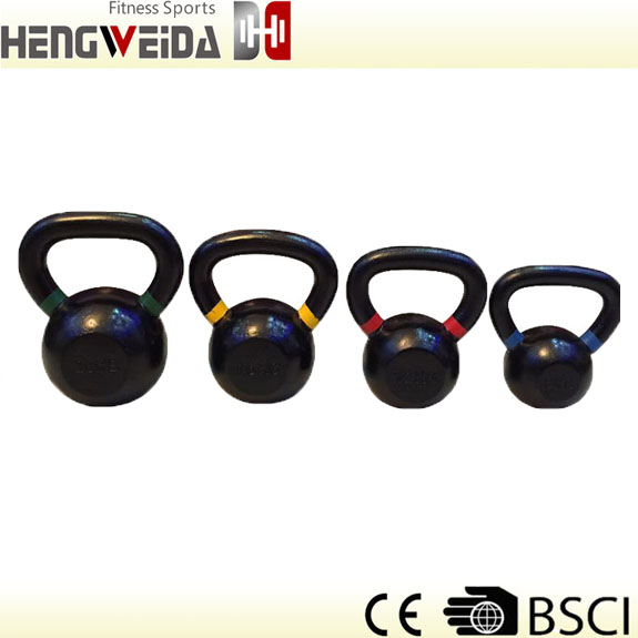 HWD5103-Powder Coated Kettlebell With Color Ring