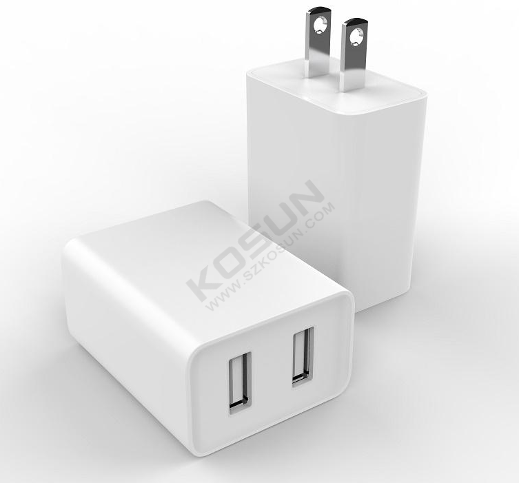 5V/2.4A Dual USB Fixed Plug Wall Charger