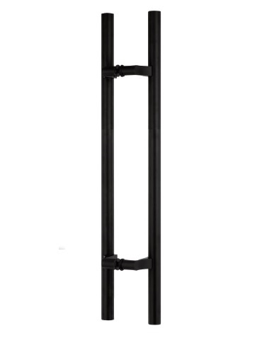 Matte Black Offset Ladder Pull for Commercial Glass Doors