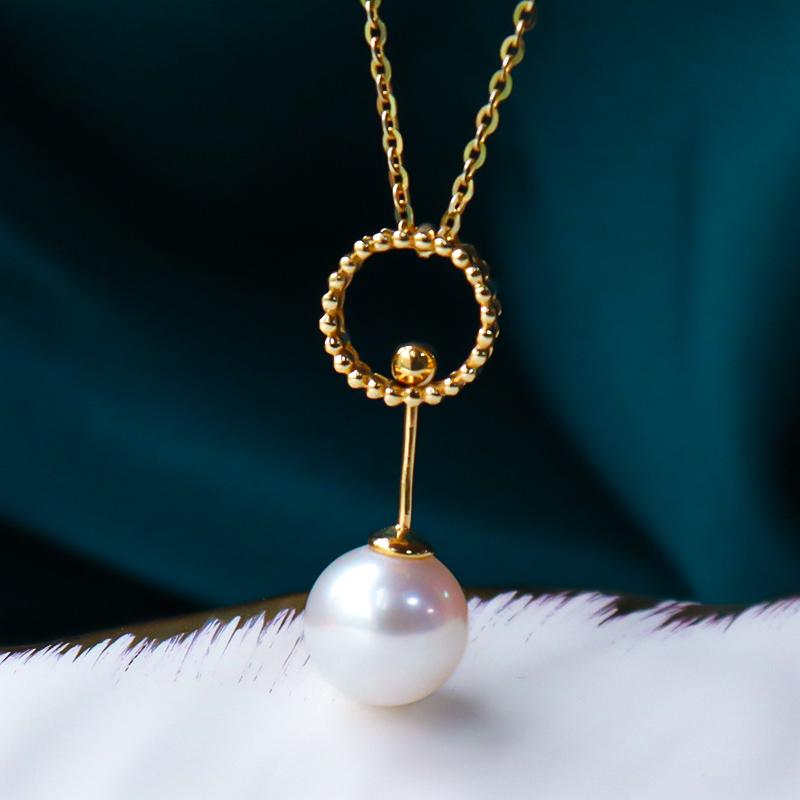 恒興珠寶 AKOYA天然海水珍珠吊墜 18K金 正圓強光鎖骨鏈簡約吊墜