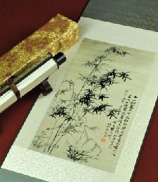 14-4-05奇石竹兰(織錦畫)