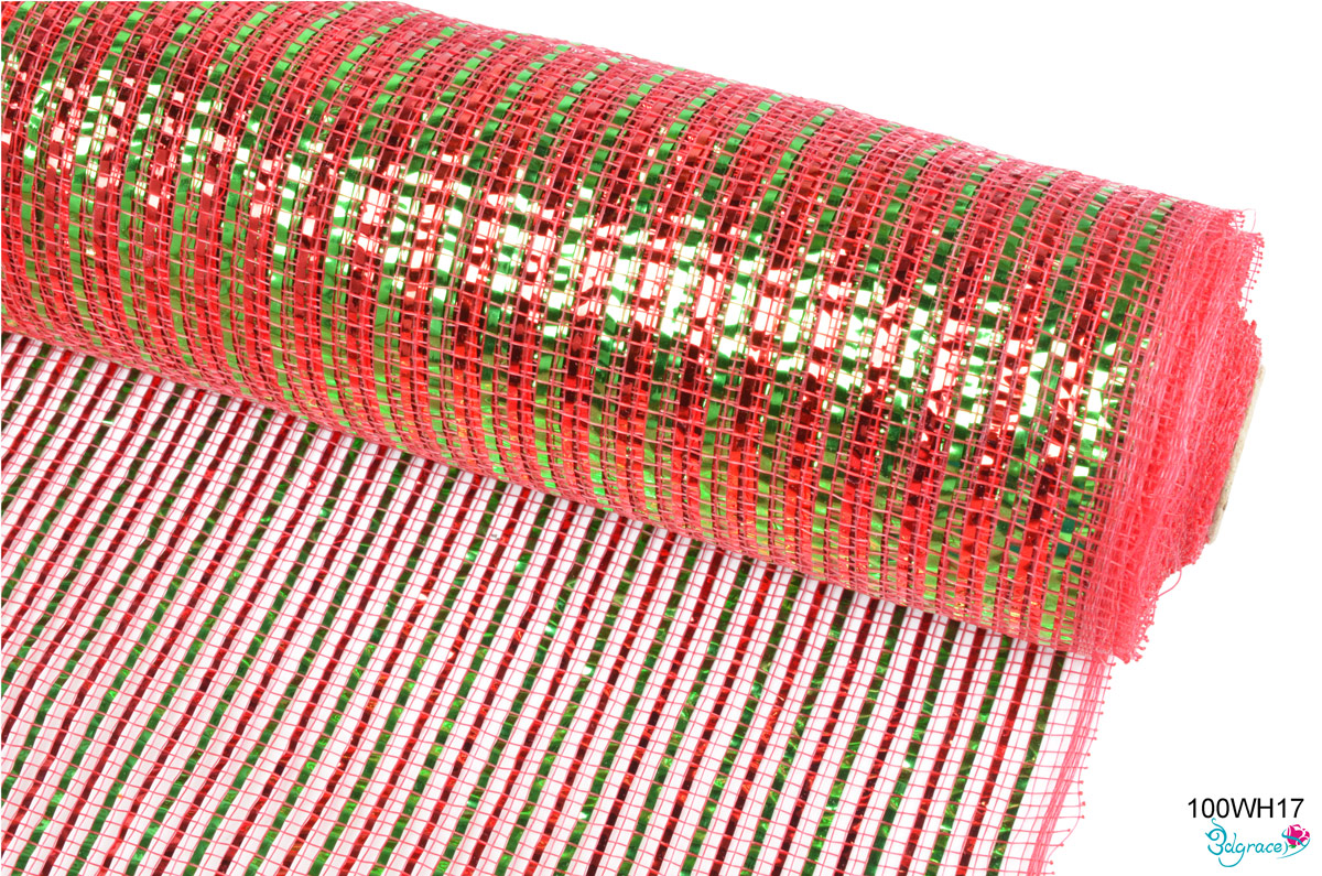 100WH Group Metallic Mesh 100WH17 Wide Red And Green Metallic In Red  PP