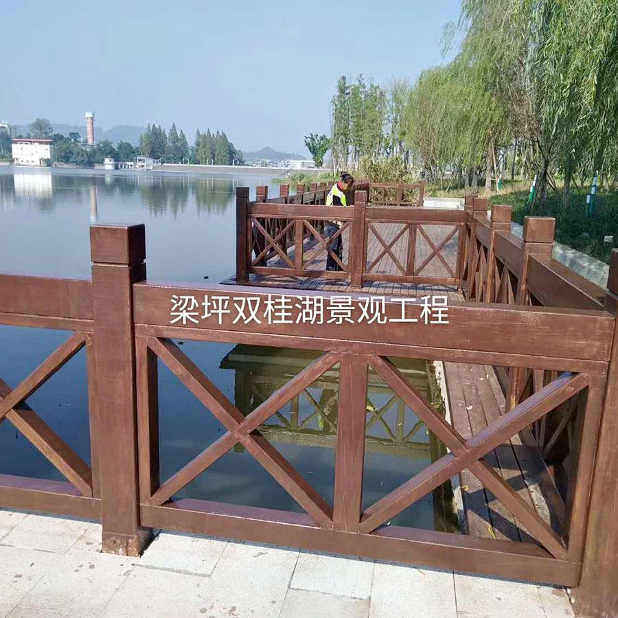 梁坪雙桂湖景觀工程-防腐木欄桿