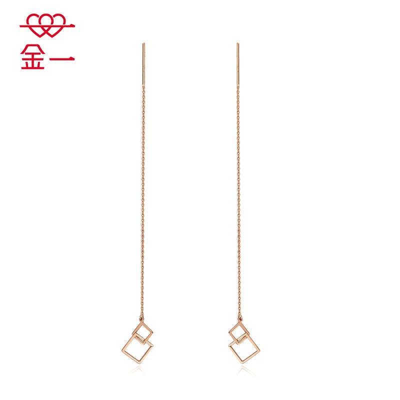 金一18K金新款玫瑰金 牽絆系列女士K金耳線耳釘送女友 (定價)