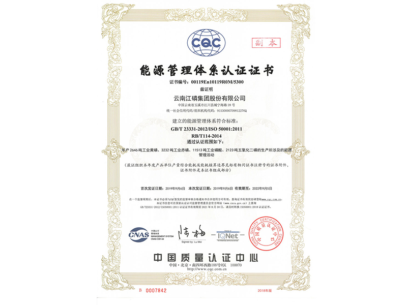 SO 50001: 2011 Energy Management System Certification