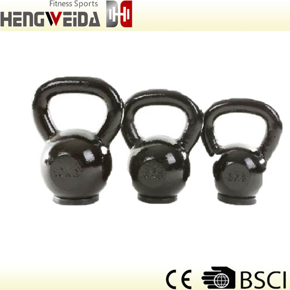 HWD5101-Black Painted Kettlebell With Rubber Bottom